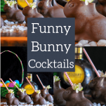 Cocktails in chocolate easter bunnies that are hollow with a straw
