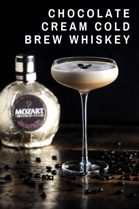 Chocolate Cold Brew cocktail in a coupe with Mozart Chocolate Cream liqueur bottle in background