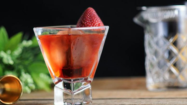 Strawberry Negroni - Campari Recipes with Strawberry Infused Gin