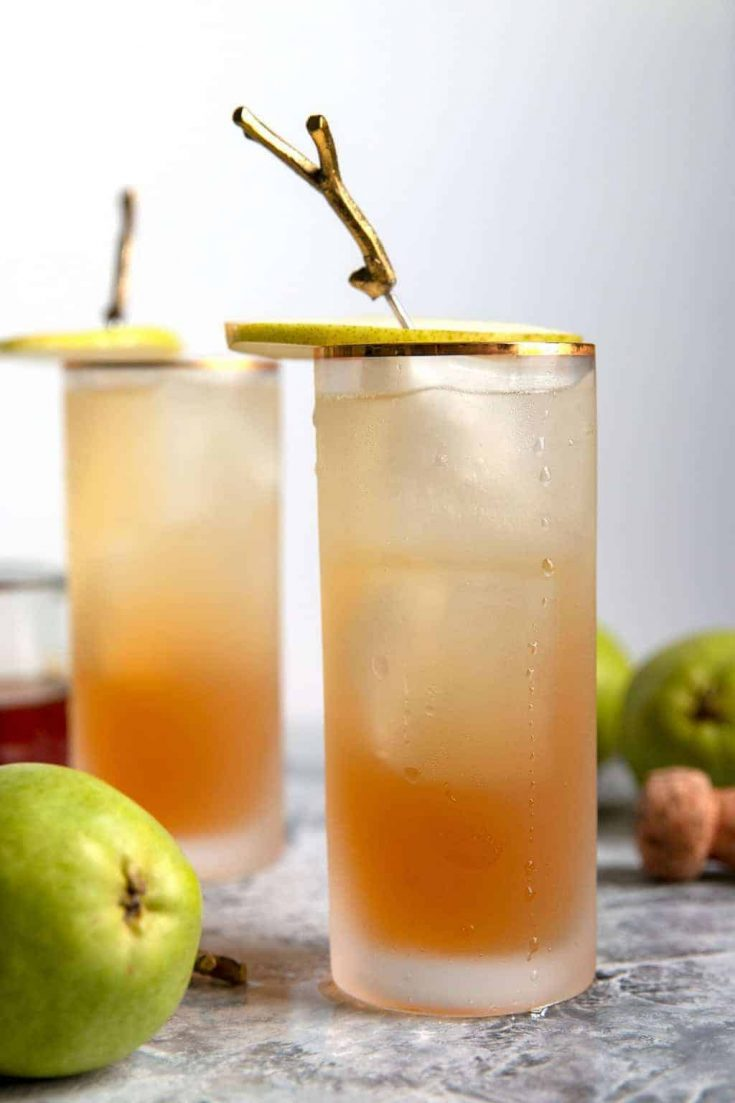 Sparkling Bourbon Pear Cocktail