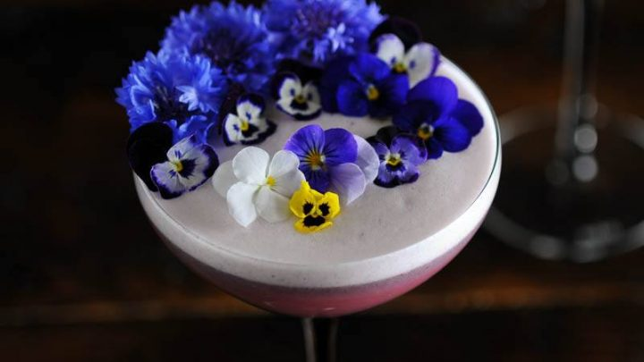 Edible flowers on top of egg whtie foam cocktail