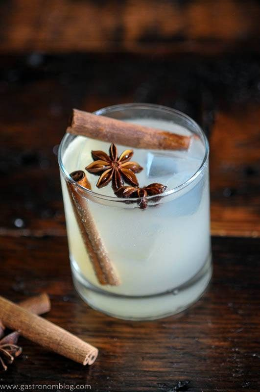 Cocktail with cinnamon sticks
