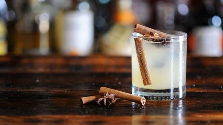 Cocktail in rocks glass wtih spices