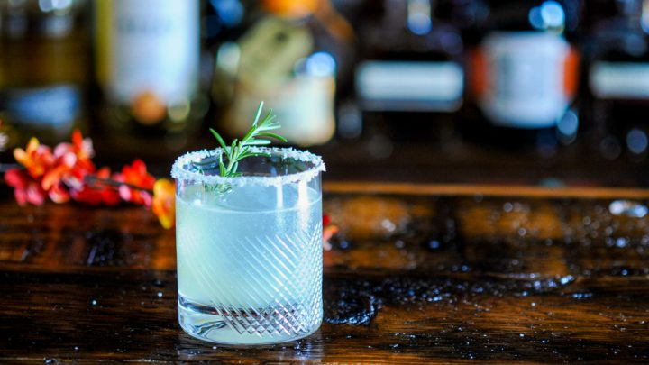 Margarita in rocks glass with salt rim and rosemary sprig