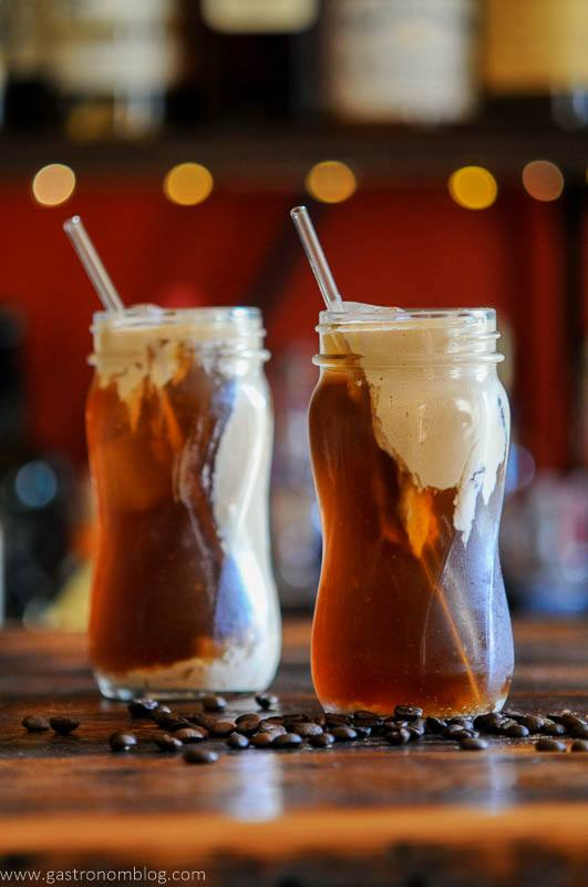 Cold Brew Coffee with pumpkin cream in jars