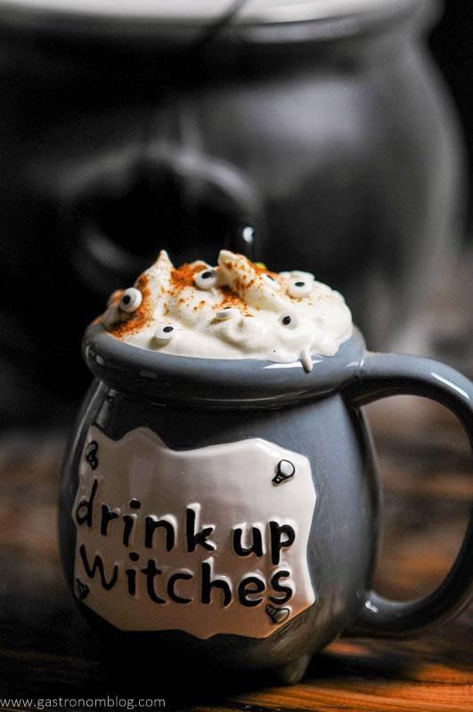 Gray cauldron cocktail for Halloween