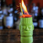 Green zombie mug with fire