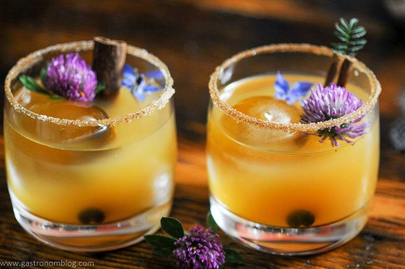 Punch cups with Thanksgiving Punch, edible flowers