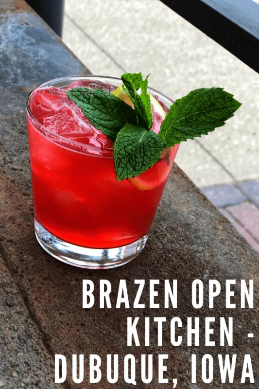 Pink cocktail at Brazen Open Kitchen, Dubuque