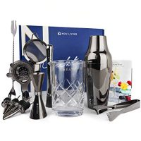 Cocktail Shaker Set with Mixing Glass | The Ultimate Mixology Bartender Kit and Cocktail Set for Drink Mixing | Complete Bar Set with Drink Shaker, Muddler, Bar Tools & Recipe Book (Gun Metal Black)