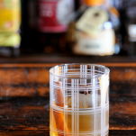 Whiskey Old Fashioned in plaid glass