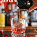 Pour shot of red Negroni recipe