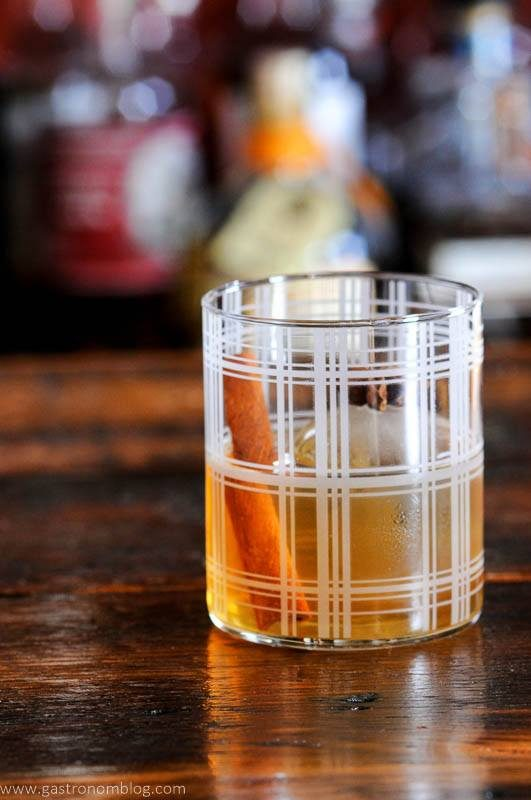Plaid glass with spiced old fashioned