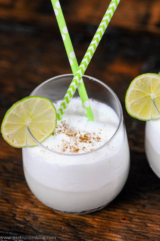 Coconut Lime Italian Cream Soda with lime and straws