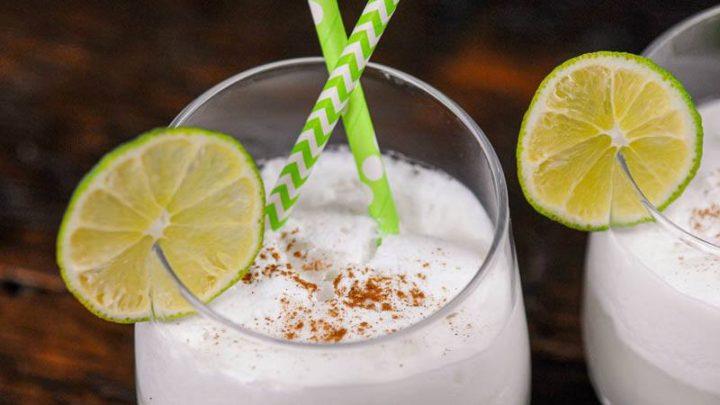 Italian Soda with lime wheel and straws