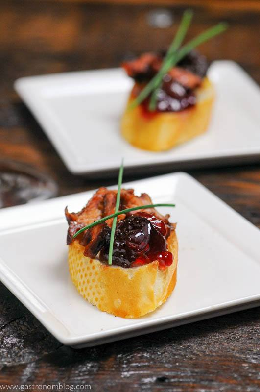 Pork Crostini on white plate