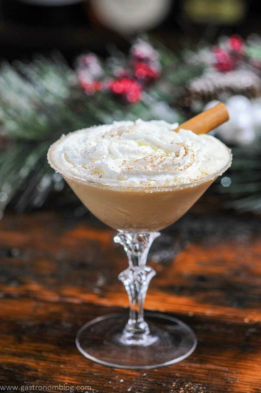 Gingerbread cocktail recipe in coupe with whipped cream