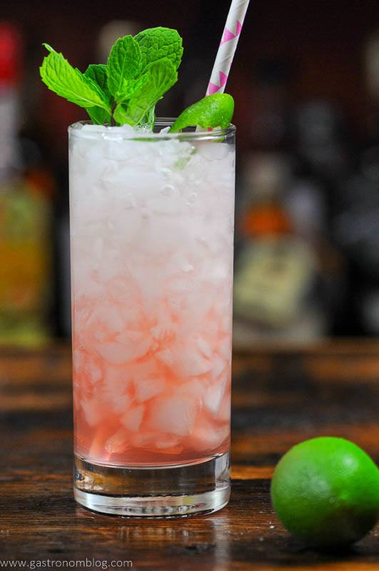 Pink mocktail in tall glass with straw and mint