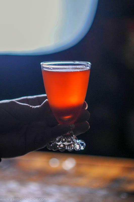 Pink cocktail backlit