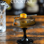 Cocktail with banana slice in brown glass