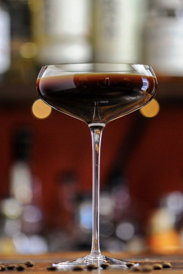 Brown cocktail in coupe