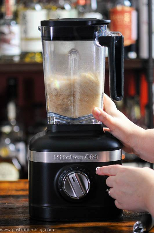 Almonds blending in blender