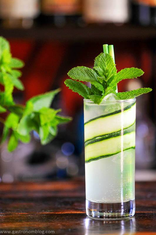 Cucumber cooler cocktail with glass lined by cucumber slices, mint garnish
