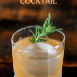 orange cocktail in glass wtih ice and rosemary