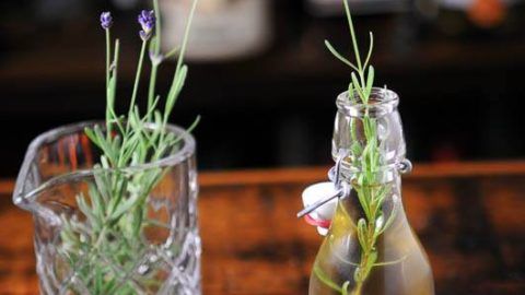 Lavender syrup in bottle, lavender sprigs in glass behind