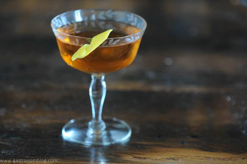 Chicago cocktail in coupe with lemon peel