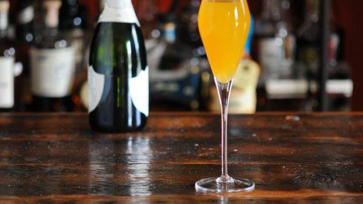 Peach Bellini in tall glass
