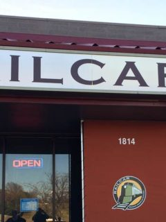 Outside sign of Railcar Restaurant Omaha