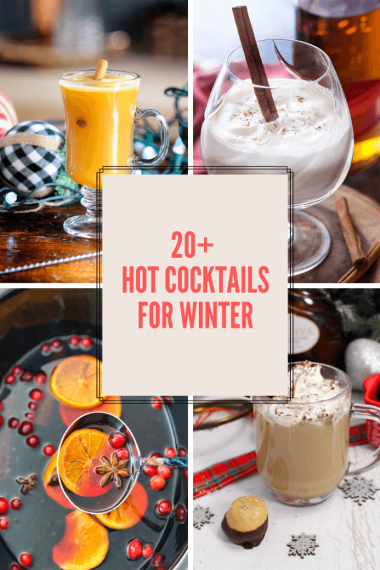 4 pictures of hot cocktails in a collage
