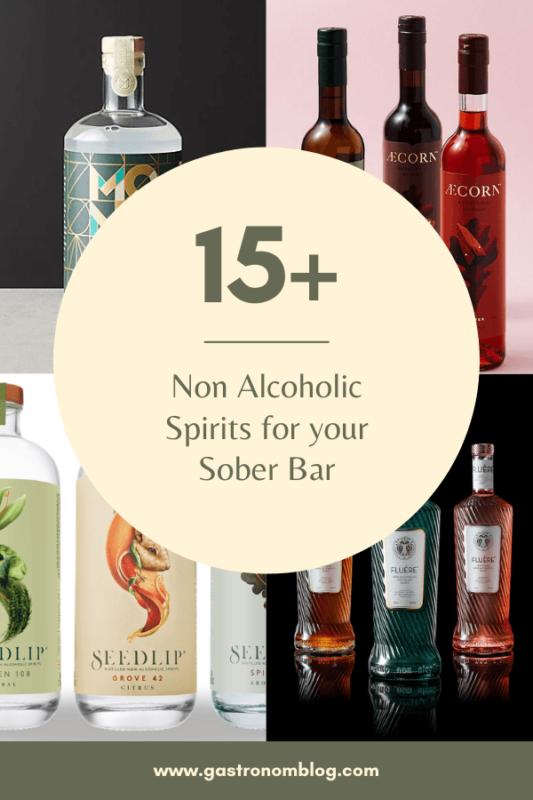 Collage of non alcoholic spirits