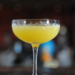 Golden Doublet cocktail in cocktail coupe