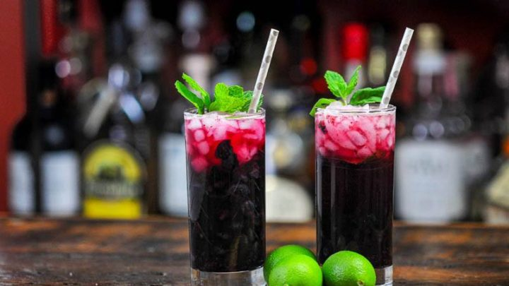 Blueberry Non Alcoholic Mojito, dark red cocktails in tall glasses with mint and straws, limes