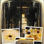 Collage of Robuchon Las Vegas - front door, soups and dessert