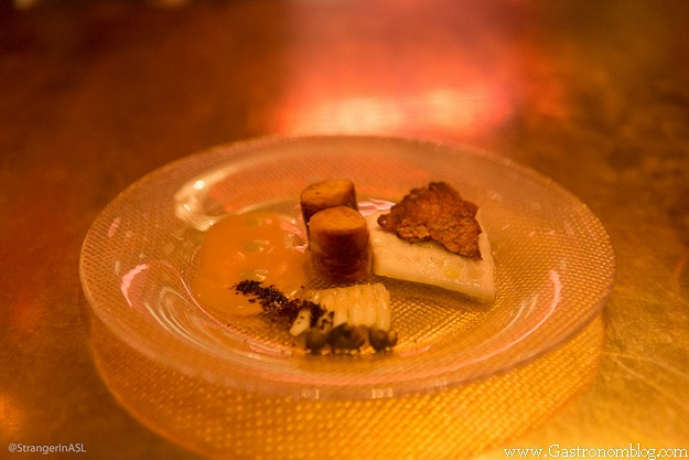 food on glass plate at e by Jose Andres