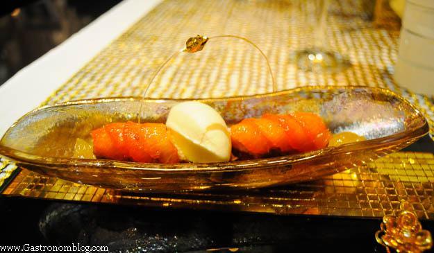 Pecan coffee cake dish served in gold bowl at Robuchon Las Vegas
