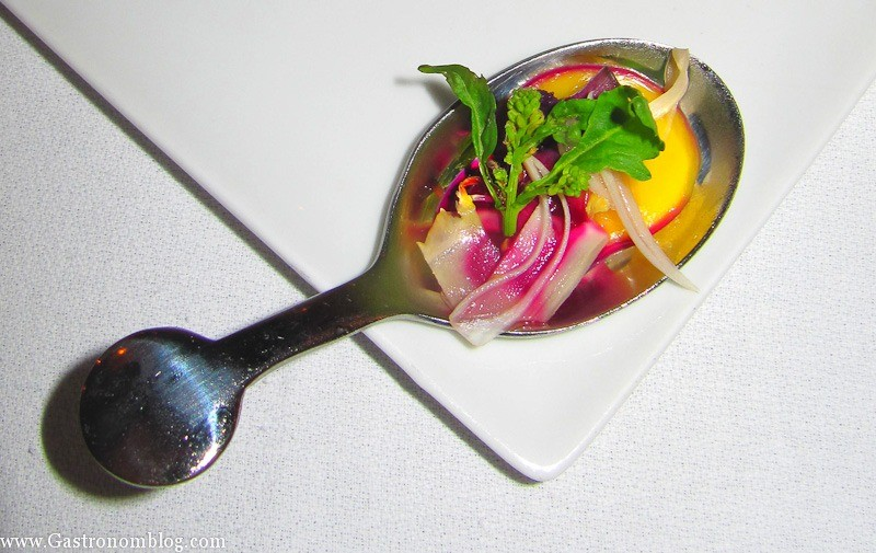 top shot spoon with melon, radish and greens