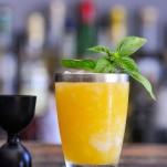 orange cocktail in silver rimmed glass, basil garnish, black jigger and bar spoon